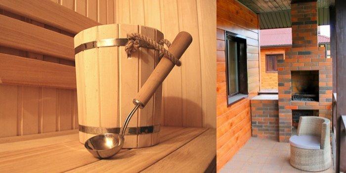 Линкер Парк предоставляет услугу – аренда сауны из дерева абаши с каменным мангалом на открытой террасе