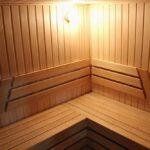 Сауны в Apart Hotel «Линкер Парк», отделка стен деревом абаши и оборудование помещения для парения, фото 12