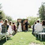 Жених и невеста перед гостями на выездной регистрации брака, свадьба Антона и Лены в Apart Hotel «Линкер Парк», фото 8