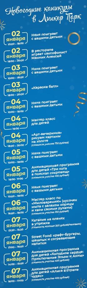Новогодние мероприятия для гостей в Apart Hotel Линкер Парк со 2 по 7 января 2022 года
