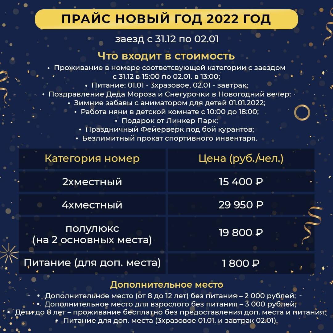Прайс на отдых на Новый год в Apart Hotel Линкер Парк с 31 декабря 2021 по 2 января 2022 года